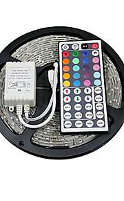 z®zdm 5m 150x5050 SMD RGB LED stripe lys IP20 med 44key fjernkontroll (DC12V)