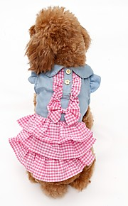 Spring and Summer Blue Yellow Green Pink Lovely Countryside Style Pets Dress for Pets Dogs Elegant Jean Dots Dog Clothes