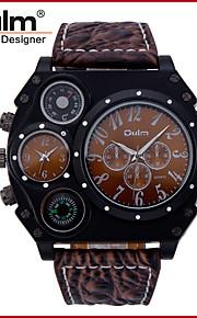Heren Militair horloge Japanse quartz Thermometers / Dubbele tijdzones Leer Band Cool Zwart / Bruin Merk