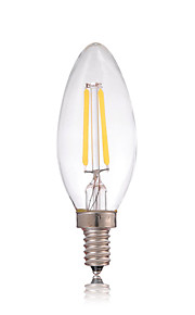2W E14 Lâmpadas de Filamento de LED C35 2 COB 180LM lm Branco Quente / Branco Frio Decorativa AC 220-240 V 1 pç