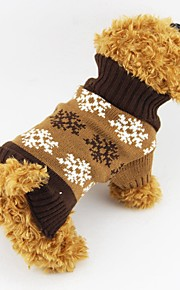 Autumn and Winter Christmas Grey and Coffee Snowflake Dog Sweater Dog Clothes for Pet Dogs