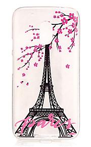 Capa traseira IMD / Transparentes / Em relevo Torre Eiffel TPU Macio Case Capa Para Motorola Moto G4 Play