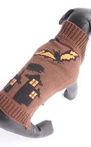 New Autumn and Winter Halloween Vampires Bat Witch Castle Dog Sweater Dog Clothes for Pet Dogs
