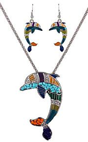 kan polly europa og USA marine personlighed delfin vedhæng halskæde øreringe sæt