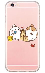 patrón del conejo TPU de la historieta contraportada suave translúcido ultrafino para el iPhone de Apple 6s 6 Plus SE / 5s / 5