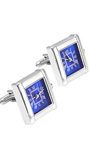 SAVOYSHI Men's Cufflinks Watch Work Multi-functional Silver Stone French Cufflinks for Wedding and Gift Jewelry