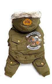 Cool Newly Locomotive Motorcycle Cotton-padded Green Khaki for Pet Dog Cool Clothes Dog Jumpsuits with Hoodie