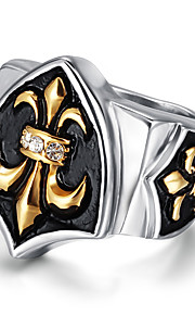Men's Fashion Vintage King 316L Titanium Steel Personality Rhinestone Statement Rings Casual/Daily Accessories