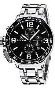 Masculino Relógio de Moda Quartzo Japonês Calendário / Impermeável / Noctilucente Aço Inoxidável Banda Casual Preta / Prata marca