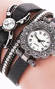 Mulheres Relógio de Moda / Bracele Relógio Quartz / PU Banda Legal / Casual Preta / Branco / Azul / Prata / Vermelho / Rosa / Bege marca