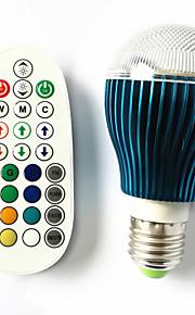 9 GU10 / B22 / E26/E27 LED-globepærer A60(A19) 3 Høyeffekts-LED 450 lm RGB Dimbar / Lydaktivert / Fjernstyrt AC 100-240 V 1 stk.
