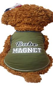 Holdhoney Dog Vest Dark Green/Light Green Dog Clothes Summer Letter & Number Fashion #LT15050280