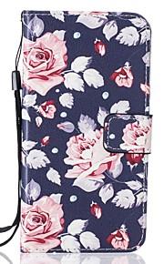 Corpo Completo carteira / Entrada de Cartão / com suporte Flor Couro Ecológico Duro Case Capa Para HuaweiHuawei P9 / Huawei P9 Lite /