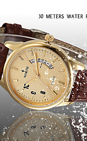 Herren Armbanduhr digital / Japanischer Quartz Kalender / Wasserdicht Leder Band Bettelarmband Schwarz / Braun Marke