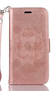 Ganzkörper Brieftasche / Kartenhalter / mit Ständer / Flip / Waffeloptik / Muster Blume PU - Leder Weich Fall-Abdeckung für AppleiPhone 7
