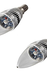 3 E14 LED-lysestakepærer A60(A19) 1 Høyeffekts-LED 200-240 lm RGB Dekorativ AC 220-240 / AC 110-130 / AC 85-265 V 2 stk.