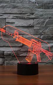 gun berøre dimming 3D LED nattlys 7colorful dekorasjon atmosfære lampe nyhet belysning jul lys