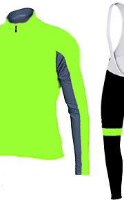 FLUO GREEN Cycling Jersey with Bib Tights Men's Long Sleeve Bike Breathable / Quick Dry / Anatomic Design / Front Zipper / 3D coolmax gel pad