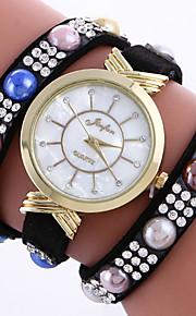 Mulheres Bracele Relógio Quartz / / Strass Couro Banda Boêmio / Pérolas / Pendente / Bracelete Preta / Branco / Vermelho / Rosa / Rose