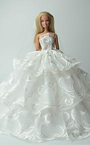 Casamento Vestidos Para Barbie Doll Branco Estampado Vestidos