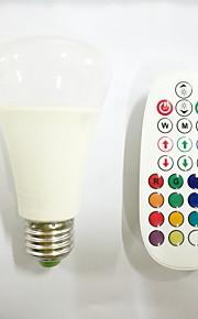 10 E26/E27 LED-globepærer A60(A19) 16pcs X SMD 5730+2pcs X RGB 3W LED SMD 5730 800 lm RGB Dimbar / Lydaktivert / Fjernstyrt / DekorativAC