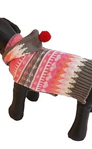 Gatos / Cães Fantasias / Casacos / Súeters / Camisola com Capuz / Vestidos Rosa Roupas para Cães Inverno / Primavera/Outono RiscasFofo /