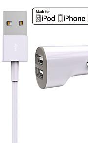 Zestaw do ładowania Ładowarka samochodowa Other 2 porty USB z kablem dla iPad / For iPhone(5V , 2,4A)