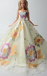 Festa e Noite Vestidos Para Barbie Doll Marfim Estampado Vestidos