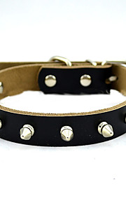 Dog Collar Adjustable/Retractable Solid Black / Brown Genuine Leather