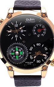 Oulm Masculino Relógio Militar Relógio de Pulso Único Criativo relógio Quartzo Compass Termômetro Dois Fusos Horários Couro Legitimo Banda