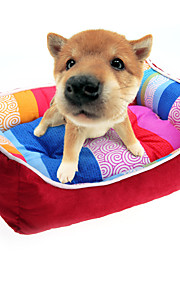 Puppy Pet Dog Cat Bed House Warm Nest Mat Pad Cute Red Stripes S