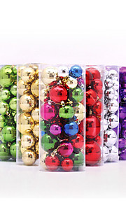 36st / lot flerfärgade jul boll 3 4 5 6 8 cm blandat plast gåva boll hängande xmas party prydnad jultreegarnering