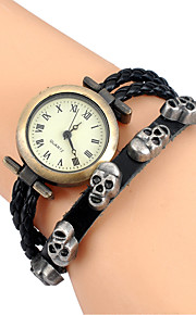Mulheres Relógio de Moda / Relógio de Pulso Quartz Colorido Couro BandaVintage / Desenhos Animados / Caveira / Boêmio / Bracelete / Legal