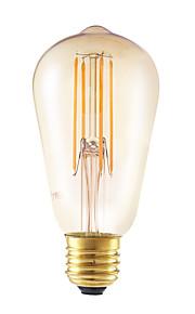 6W E26/E27 LED-glødepærer ST58 4 COB 550 lm Ravgult Dimbar / Dekorativ AC 220-240 V 1 stk.