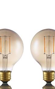 2W E26 LED-glødepærer G80 2 COB 180 lm Ravgult Dimbar AC 110-130 V 2 stk.