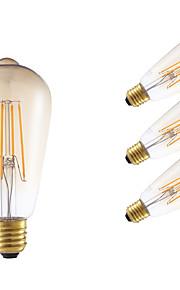 4W E26/E27 LED-glødepærer ST64 4 COB 350 lm Ravgult Dekorativ / Dimbar AC 220-240 V 4 stk.