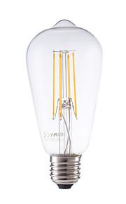 6W E26/E27 LED-glødepærer ST58 4 COB 600 lm Varm hvit Dimbar Dekorativ AC 220-240 V 1 stk.