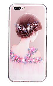Für Strass / Transparent / Muster Hülle Rückseitenabdeckung Hülle Sexy Lady Weich TPU für Apple iPhone 7 plus / iPhone 7