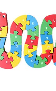 puslespil Puslespil Byggesten DIY legetøj Slange 1 Træ Regnbue