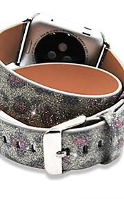 Leopardkorn Weihnachten glänzenden Glitter extra lange Echtlederarmband für 42mm Apfel-Uhrenarmband Doppel Tour Armband Lederband 38mm