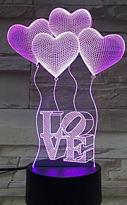 fire hjerte elsker 3d bursdagsgave nattlys berøre contral fargerike akrylstereo lysenergi gradient bordlampe natt lys