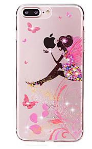 Für Strass / Transparent / Muster Hülle Rückseitenabdeckung Hülle Spaß mit dem Apple Logo Weich TPU für Apple iPhone 7 plus / iPhone 7