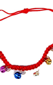 Cat Dog Collar With Bell Solid Red Fabric