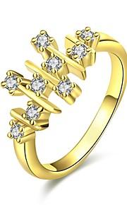 Ringe Kvadratisk Zirconium Daglig Afslappet Smykker Zirkonium Plastik Dame Ring 1 Stk.,7 8 Gul Guld