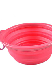 Dog Feeders Pet Bowls & Feeding Portable Foldable Pink Silicone