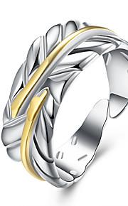 Ringe Fest Daglig Afslappet Smykker Kvadratisk Zirconium Plastik Sølvbelagt Dame Ring 1 Stk.,8 Sølv