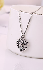 Necklace Non Stone Pendant Necklaces Jewelry Daily Heart Unique Design Heart Sterling Silver Women 1pc Gift Silver
