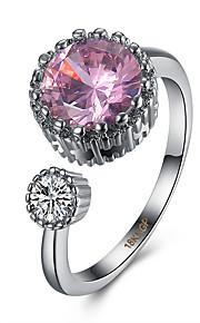Ringe Kvadratisk Zirconium Daglig Afslappet Smykker Zirkonium Plastik Titanium Stål Wolfram stål Dame Ring 1 Stk.,Justerbar Pink