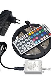 5m RGB LED stripe lys smd 3528 ikke-vanntett fleksibel lys 5m / roll diode tape 12v 3a adapter44keys kontrolleren ledet kit