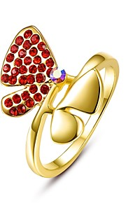 Ringe Kvadratisk Zirconium Daglig Afslappet Smykker Legering Zirkonium Guldbelagt Rødguldbelagt Dame Ring 1 Stk.,8 Rose Guld Gul Guld